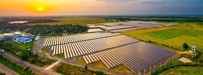 arial view of solar panel farm